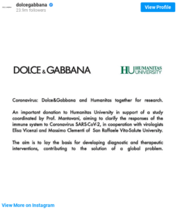 Dolce and Gabbana - Corona Initiatives